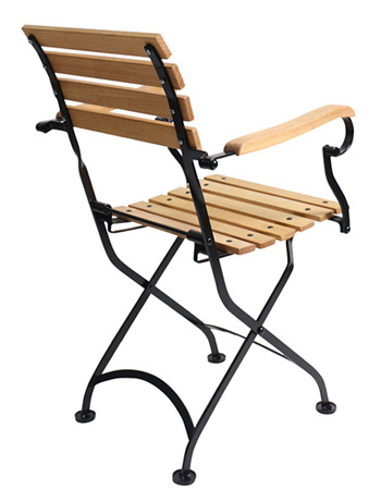 Teak Folding Bistro Armchair Rear View