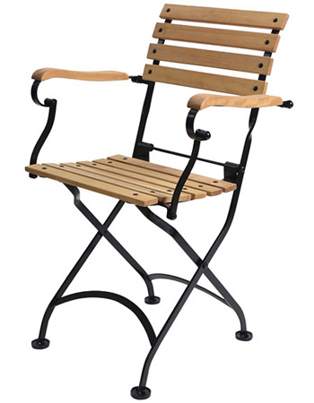 Teak Folding Bistro Armchair Side View
