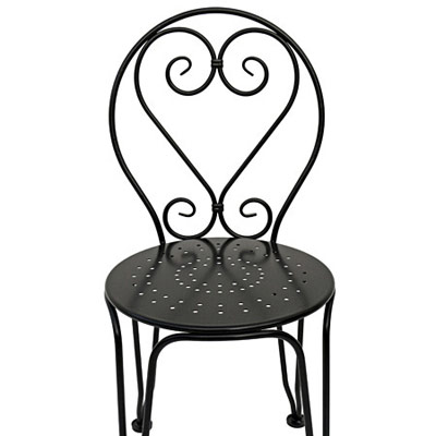 French Style Ornate Wrought Ice Cream Chair Front Detail