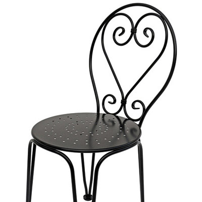 French Style Ornate Wrought Iron Ice Cream Chair Side Detail