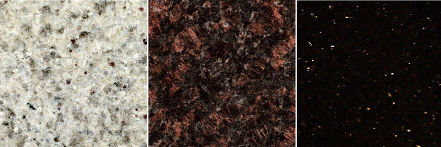 Premium Granite Table Color Selections Kashmir, Ruby Red, Black Galaxy