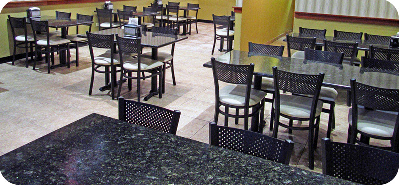 Steel Mesh Back Restaurant Chair Installation
