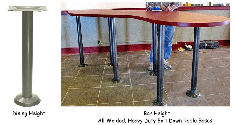 Heavy Duty Bolt Down Table Base Dining Height and Bar Height Installation