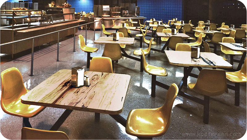 Fiberglass Shell Seat Cafeteria Four Seat Square Cluster Seating Unit