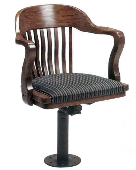 Bolt Down Oak Jury Swivel Arm Chair with Optional Upholstery