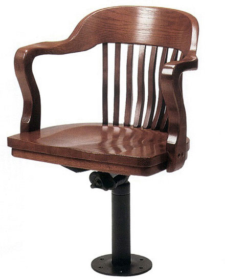 Bolt Down Oak Jury Swivel Arm Chair with Standard Wood Seat