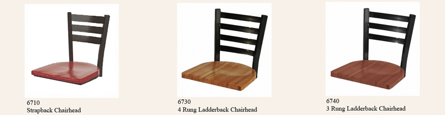 Steel Ladderback Chairhead with Wood or Upholstered Seats