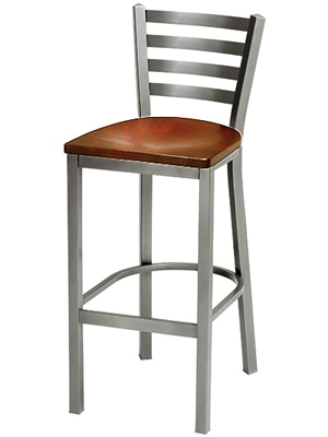 Trapezoid Steel Bar Stool with Dark Stained Wood Veneer Seat