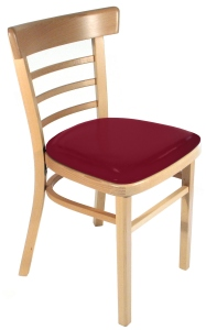 Ladderback bentwood restaurant chairs upholstered closeout front view