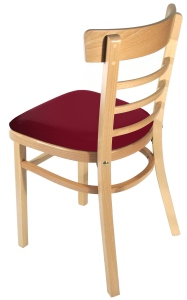 Ladderback bentwood restaurant chairs upholstered closeout rear view