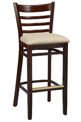 Ladderback Bar Stool Upholstered Seat