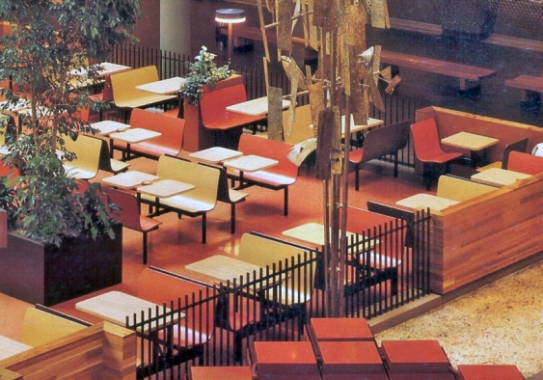 Laminated Plastic Contoured Restaurant Booths - Shopping Mall Food Court Installation