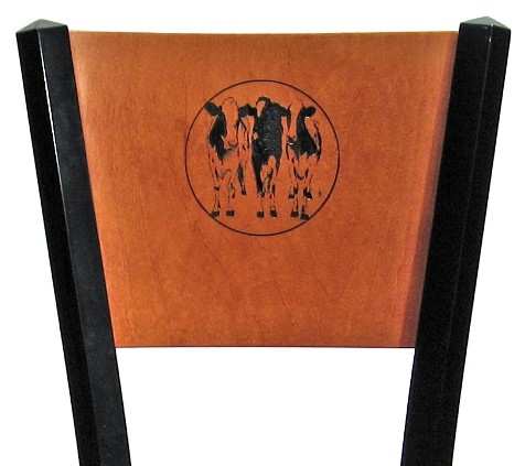 Steel Restaurant Chair with Wood Back Laser Etched Dairy Cows