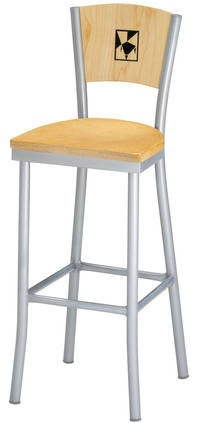 Steel Frame Bar Stool with  Wood Back Laser Etched Company Logo