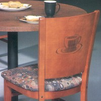 Wood Restaurant Chair with Laser Etched Coffee Cup Image