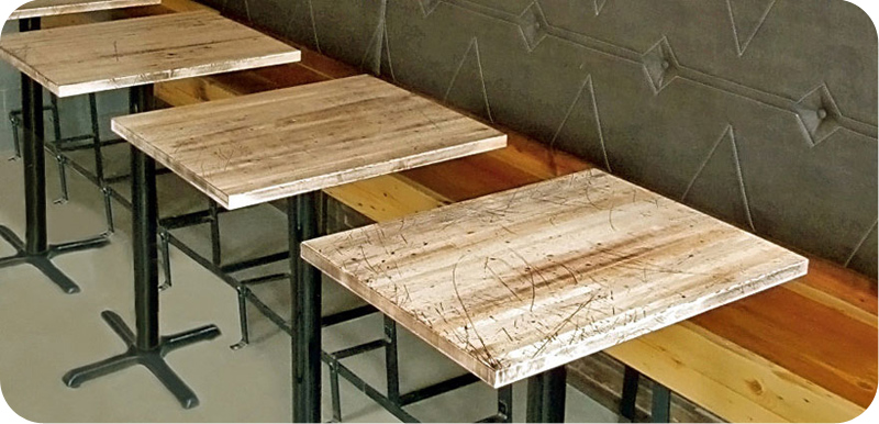 Solid Maple Butcherblock             Restaurant Booth Tables Installation