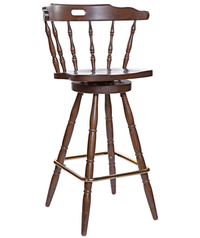 Early American, Colonial Style Wood Restaurant Dining Room Mates Bar Chair Wood Seat