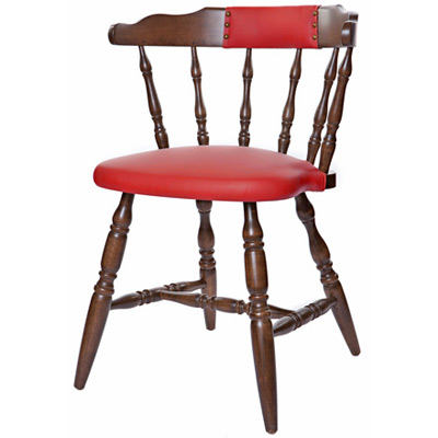 Early American, Colonial Style Wood Restaurant Dining Room Mates Chair Upholstered Seat and Back