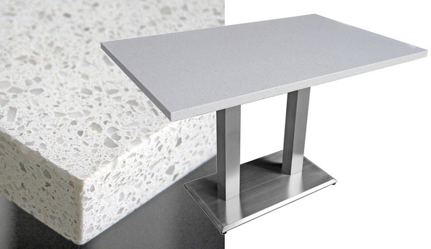 Mesa Quartz Rectangular Restaurant Table Snow White