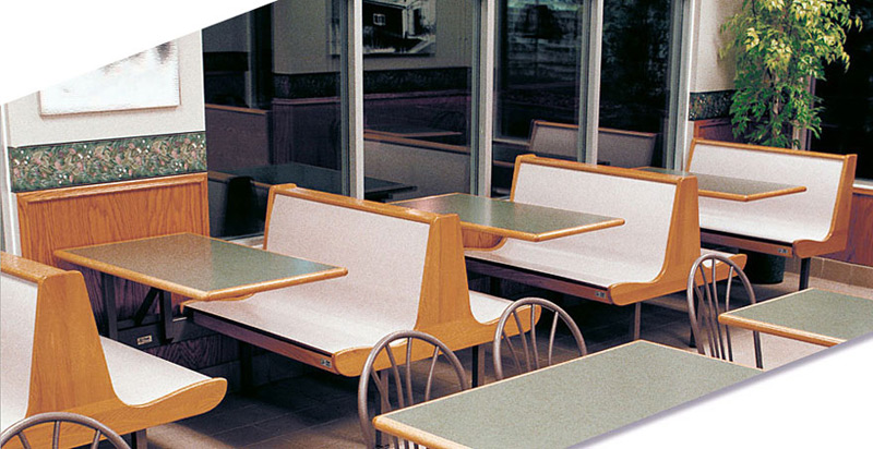 Curved Laminated Plastic Seats with Wood End Panels Restaurant Booths Installation