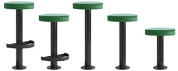 Metropolitan Style Bolt Down Counter Stools With Upholstered Seats