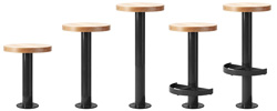 Metropolitan Style Bolt Down Counter Stools With Wood Seats