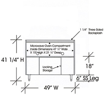 Drawing Microwave Cabinet For Two Microwave Ovens 42 Inches X 49 Inches