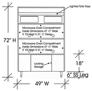Drawing Microwave Cabinet For Four Microwave Ovens 72 Inches X 49 Inches
