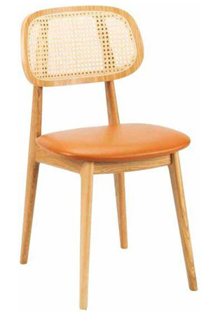 Modern Wood Restaurant Chair Upholstered Seat Cane Back Front View