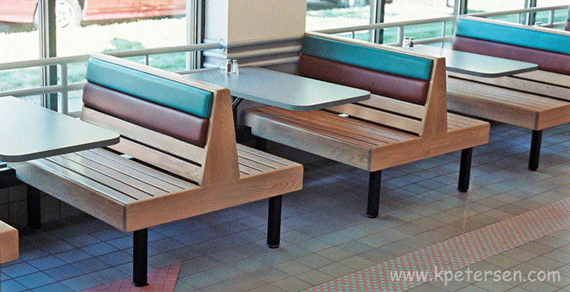 Oak Seat Restaurant Booth Seating Installation
