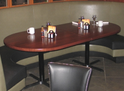 Bullet Shaped Oak Restaurant Booth Table Top Random Width Plank Construction