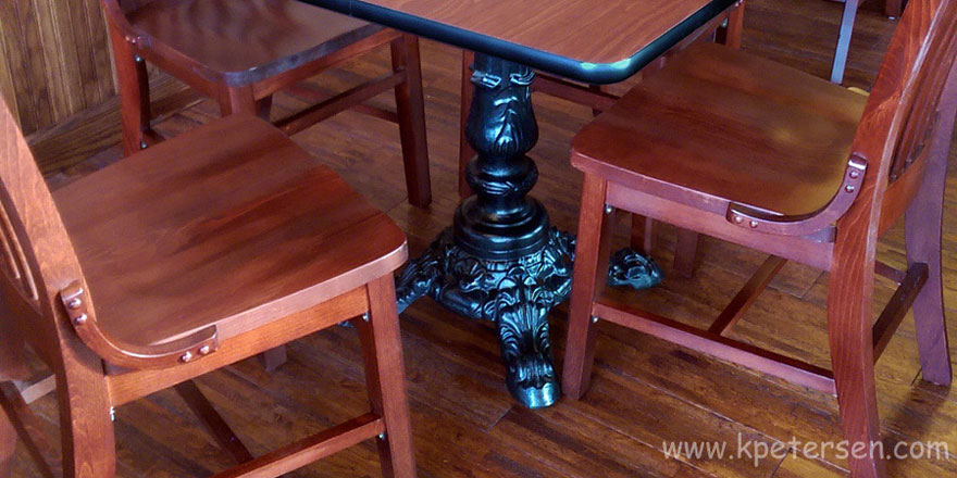 Victorian Style Antique Reproduction Large Crossfoot Ornate Cast Iron Table Base Installation 2 Detail