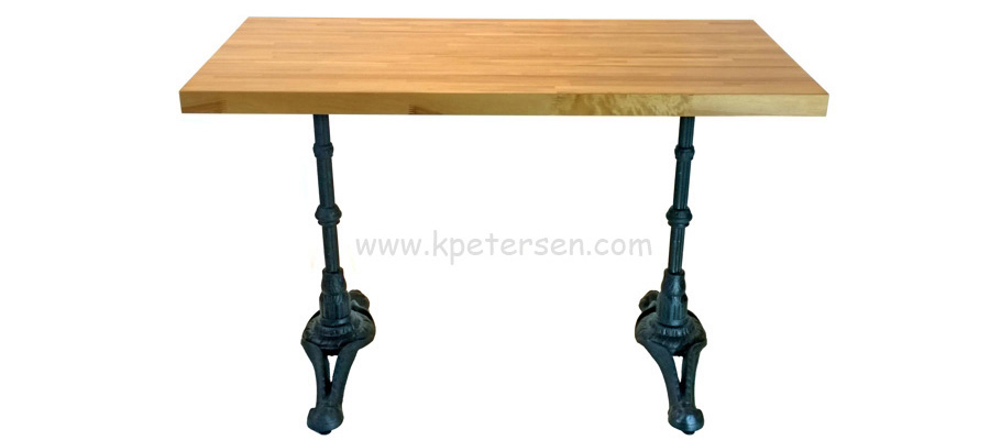 Ornate Cast Iron End Bases with Rectangular Wood Table Top