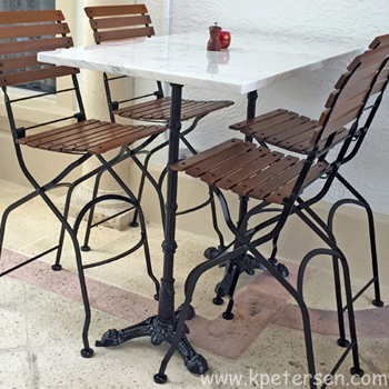 Ornate Cast Iron Tripod Bar Height Table Base Installation