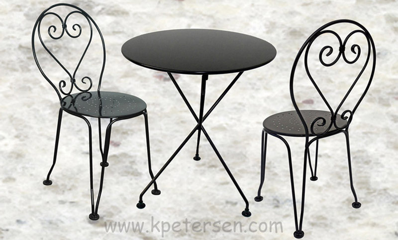 French Style Ornate Wrought Iron Ice Cream Chair with Steel Seat