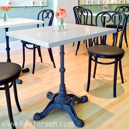 Ornate Cast Iron Crossfoot Dining Table Base Installation Detail
