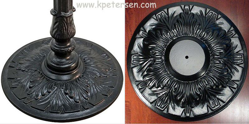 Antique Reproduction Large Round Ornate Cast Iron Table Base Component Details