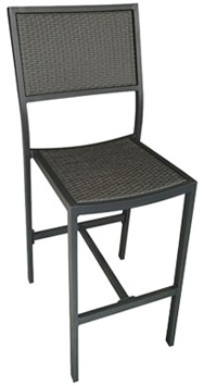 Outdoor Aluminum Bar Stool With Woven Seat And Back