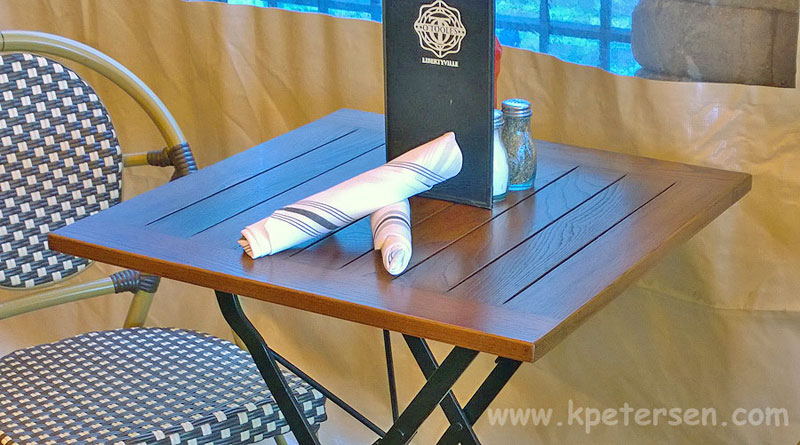 French Bistro Square Chestnut Folding Table Installation