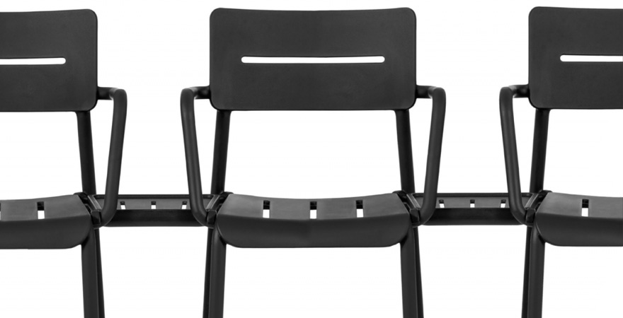 Outdoor Polypropylene Armchair Connector Table Option Detail