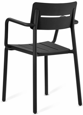 Outdoor Polypropylene Restaurant Stacking Armchair Black Rear View