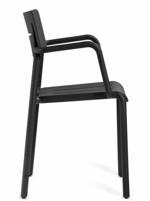 Outdoor Polypropylene Restaurant Stacking Armchair Black Side View