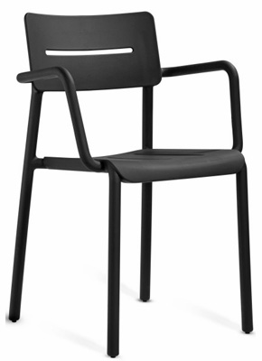 Outdoor Polypropylene Restaurant Stacking Armchair Black Front View