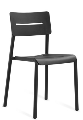 Outdoor Polypropylene Restaurant Stack Chair Black Front View
