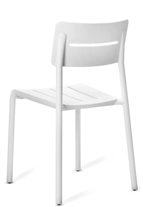 Outdoor Polypropylene Restaurant Stack Chair White Rear View