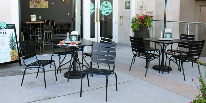Outdoor Steel Slat Stacking Chairs Installation