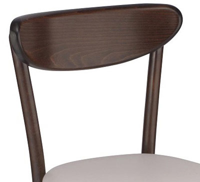 Upholstered Oval Back Bentwood Chair Backrest Detail