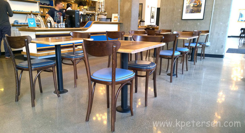 Upholstered Oval Back Bentwood Chairs Cafe Installation