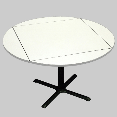 Padded Drop Leaf Restaurant Table Round Drawing