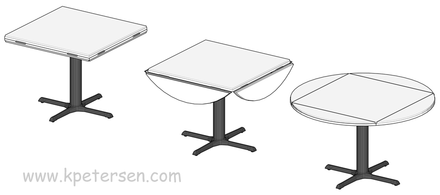 Padded Drop Leaf Restaurant Tables Drawing